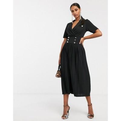 エイソス ミディドレス レディース ASOS DESIGN midi button detail shirt dress with pleated skirt エイソス ASOS ブラック 黒