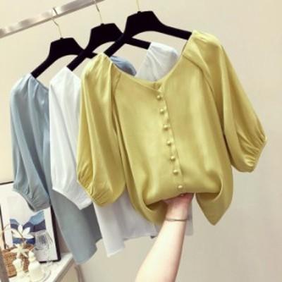 韓国ファッション 夏 シフォンブラウス レディース ブラウス 可愛い トップス レディース Tシャツ  爽やか