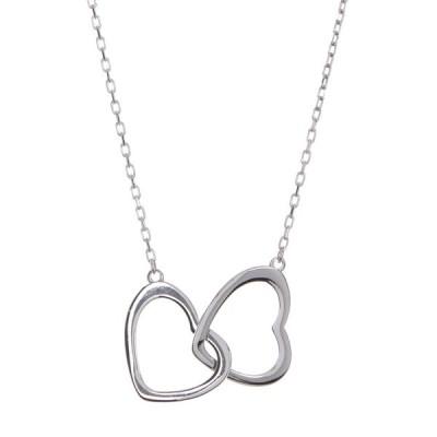 アルジェントヴィーヴォ レディース ネックレス・チョーカー・ペンダントトップ アクセサリー Sterling Silver Double Open Heart Pendant Necklace SILVER