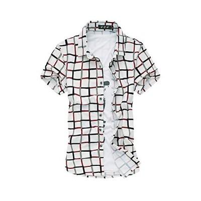[ Make 2 Be ] メンズ カジュアル 格子柄 チェック シャツ 半袖 KB13 (13.White_2XL)