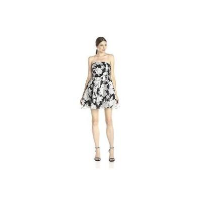 ドレス グラマラス Glamorous Women's Organza Flower Print Fit & Flare Strapless Mini Dress # SMALL