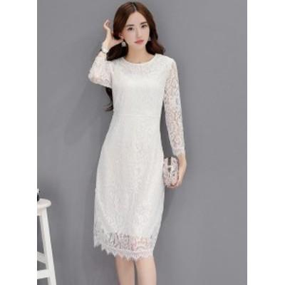 【S~XL】ホワイト◎ボディフィットドレスワンピ◎上品ガーリー◎結婚式 二次会 お呼ばれ 春夏