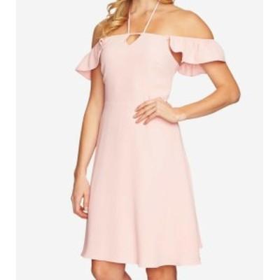 CeCe  ファッション ドレス CeCe Womens Pink Sahara Size 8 Cold-Shoulder Flutter-Sleeve Dress