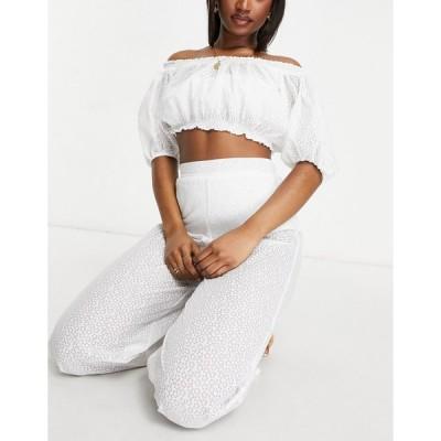 ファッションユニオン おでかけトップス レディース Fashion Union Exclusive crop beach top in white lace エイソス ASOS ホワイト 白