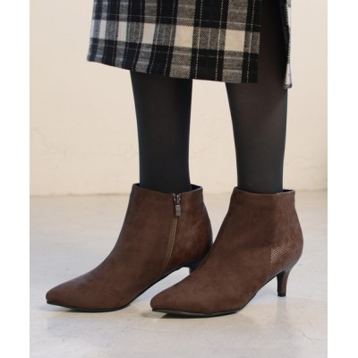 AmiAmi / サイドファスナー付きシンプルショートブーツ/6.5cmヒール WOMEN シューズ > ブーツ