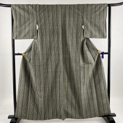 紬 美品 優品 縦縞 灰緑 袷 162cm 63.5cm S 正絹 中古