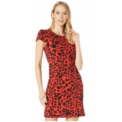 ベッツィ ジョンソン Betsey Johnson レディース ワンピース ミニ丈 ワンピース・ドレス Leopard Mini Dress with V-Back Red Leopard