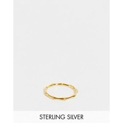 エイソス レディース 指輪 アクセサリー ASOS DESIGN sterling silver with gold plate ring in fine bamboo design
