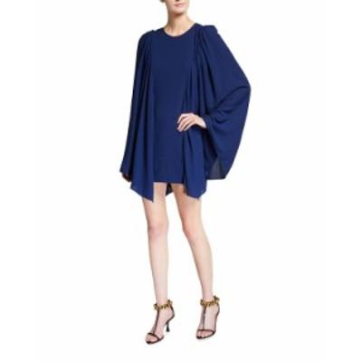 ステラマッカートニー レディース ワンピース トップス Luciana Solid Crepe Sable Cape Dress BLUE