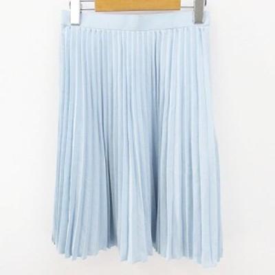 【中古】WEBEL 膝丈 プリーツスカート 9AR 水色 ライトブルー 裏地 無地 レディース
