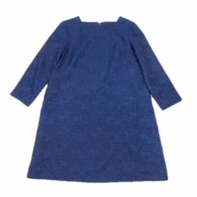 【中古】aA ワンピース 刺繍 長袖 ひざ丈 バックジップ 38 青 ブルー/14# レディース