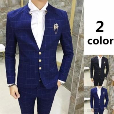【還元祭クーポン利用可】2ピーススーツ メンズ紳士服 ビジネススーツ フォーマル オフィス チェック柄 ダブル リクルートスーツ高級人気