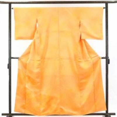 【中古】リサイクル着物 訪問着 / 正絹オレンジ地青海波地模様袷訪問着着物 / 身丈162cm 裄65cm 前幅22.5cm 後幅30cm 袖丈49cm【裄Mサ