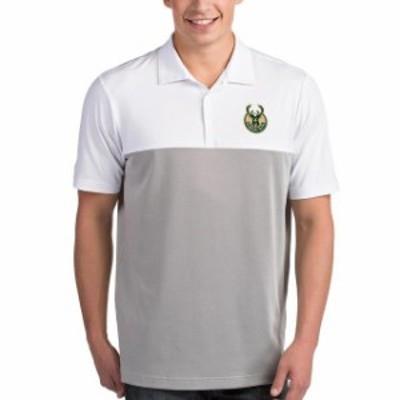 Antigua アンティグア スポーツ用品  Antigua Milwaukee Bucks White/Gray Venture Polo