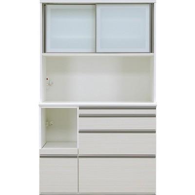食器棚 引き戸 ガラス キッチン収納 キッチンボード レンジ台 日本製 ダイニングボード エブリー 120 KB WH (配送員設置)