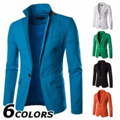 テーラードジャケット メンズ おしゃれ ブランド 無地 柄 黒 スタンドカラー ジャケット アウター 大きいサイズ 18smj55