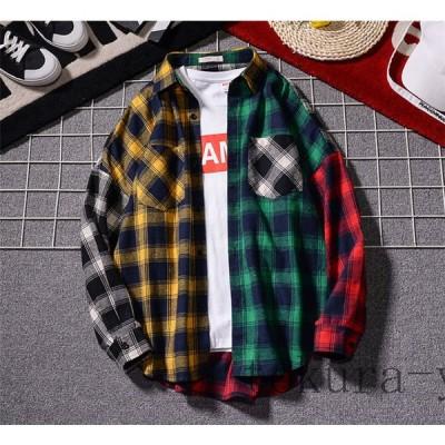 2020チェックシャツ メンズ 韓国 ファッション チェック柄 シャツ 長袖シャツ ブロードシャツ コットンシャツ タータンチェック