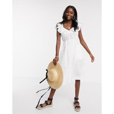 フレンチコネクション レディース ワンピース トップス French Connection ruffle midi dress in linen white