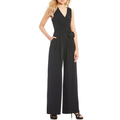 エリザジェイ レディース ワンピース トップス Surplice V-Neck Sleeveless Tie Waist Wide Leg Jersey Jumpsuit Black