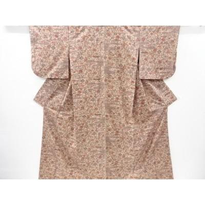 宗sou 霞に花鳥更紗模様手織り真綿紬着物【リサイクル】【着】