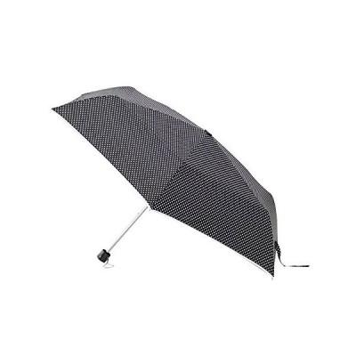 アテイン 婦人用 軽量楽々ミニ折畳傘 親骨55cm ドットパイピング ポンジー 黒 5177