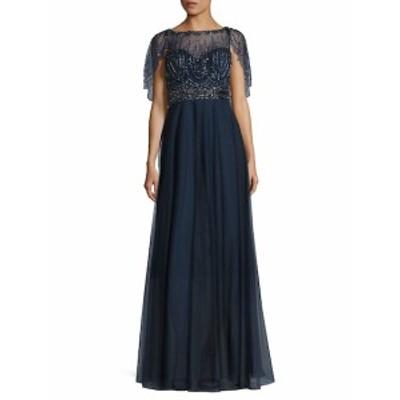 バシックスブラックラベル レディース ワンピース Beaded Capelet Gown