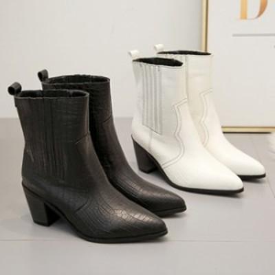 ブーツ レディース ショートブーツ 7cm 太めヒール ブーティ 蛇柄 シューズ 靴 歩きやすい おしゃれ 美脚 カジュアル 防寒 秋冬用