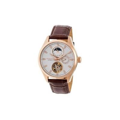 腕時計 ヘェリィタァ Heritor Sebastian White Moonphase Dial Rose Gold-tone IP Case Brown Leather