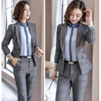 オフィス レディース 秋 流行   新作 格子柄 スーツ ジャケット 上品 正装 面接 仕事着 3点セット