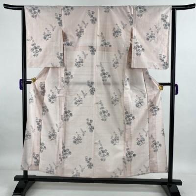 紬 美品 秀品 草花 薄ピンク 単衣 身丈157.5cm 裄丈64cm M 正絹 中古