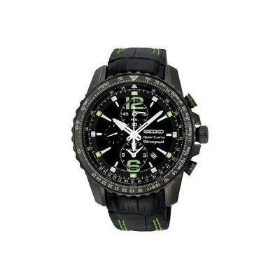 セイコー 腕時計 Seiko SNAE97 スポーチュラ クロノグラフ ブラック ダイヤル レザー メンズ 腕時計