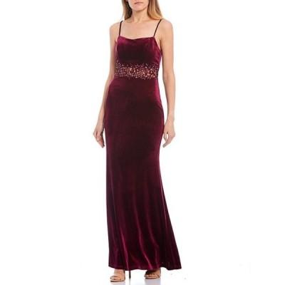 シティヴァイブ レディース ワンピース トップス Spaghetti Strap Floral Embroidered Waist Velvet Long Dress