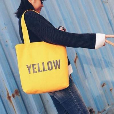 トートバッグ 大きめ 幌布 布 キャンバス 大容量 レディース かばん 黄色 イエロー バッグ ショルダーバッグ 英字 エコバッグ エコバッグ おしゃれ シンプル