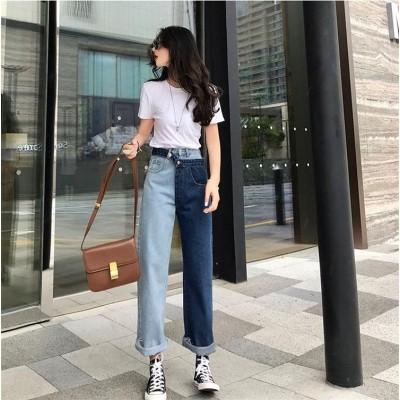 2019ファッションの新しい  フェイク2個セット コントラスト 縫付 ジーンズ  春のドレス 香港の味  レトロ  ハイウエスト ストレート ナインパンツ 女性