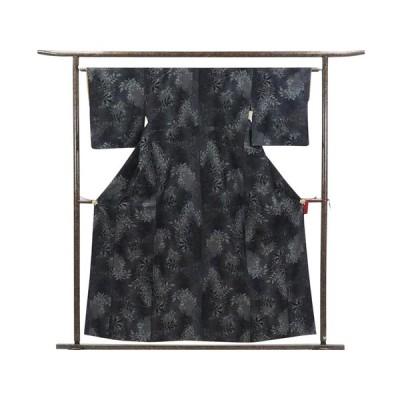 リサイクル着物 紬 正絹黒地袷真綿紬着物