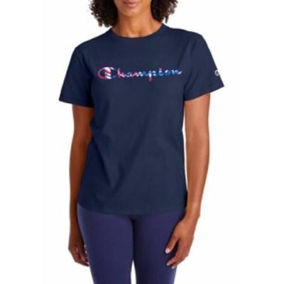 チャンピオン レディース Tシャツ トップス The Classic Graphic T-Shirt Athletic Navy