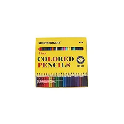 "SKKSTATIONERY 100 Pcs Mini Colored Pencils, 3.5"" Colored Pencils, 50 Vibran"