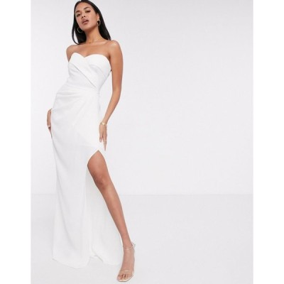ヤウラ マキシドレス レディース Yaura bandeau maxi dress in white エイソス ASOS ホワイト 白
