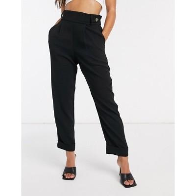 リバーアイランド レディース カジュアルパンツ ボトムス River Island button tab pleat pants in black Black
