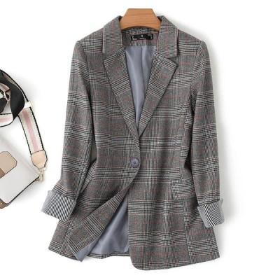 通勤風 オフィス 折り襟 チェック 長袖 合わせやすい コート アウター