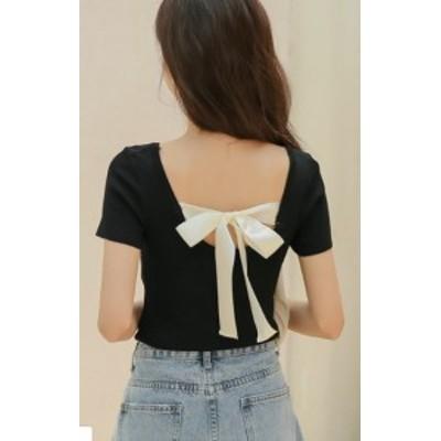 カットソー Tシャツ トップス 半袖 ゆったり バックリボン 大人可愛い カジュアル おしゃれ きれいめ フェミニン 春夏 ブラック グリー