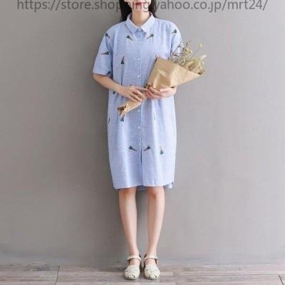 シャツワンピースワンピースレディースきれいめゆったり半袖夏大きいサイズ半袖体型カバー着やせひざ丈