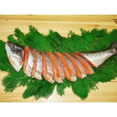 キングサーモンの甘塩鮭(尾頭付)2.0kg以上(化粧箱入、包装)【天然】