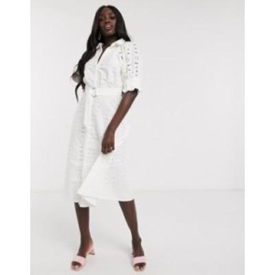 エイソス レディース ワンピース トップス ASOS DESIGN broderie midi shirt dress with puff sleeves and d-ring belt in white White