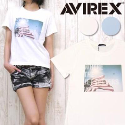 AVIREX アビレックス アヴィレックス レディース Tシャツ カットソー 半袖 フォト プリント ミリタリー avi6243196