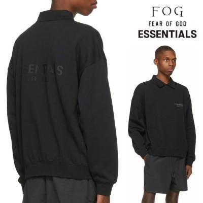 フィアオブゴッド エッセンシャルズ FOG Fear Of God ロゴ ロング スリーブ ポロシャツ ロンT 長袖 ブラック 黒 Tシャツ トップス FW20 Essentials メンズ アメ