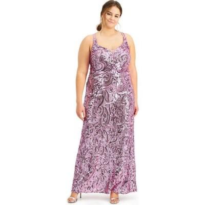 モルガン Morgan & Company レディース パーティードレス 大きいサイズ ワンピース・ドレス Trendy Plus Size Sequin Strappy-Back Gown Rose