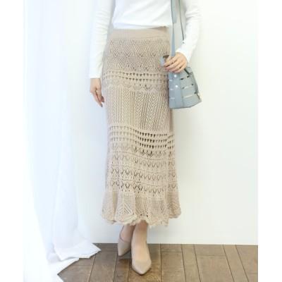 【ブルーイースト】 針編み風ロングスカート レディース ベージュ M(01) BLUEEAST