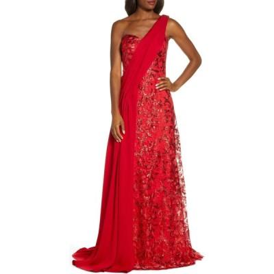タダシショージ TADASHI SHOJI レディース パーティードレス ワンショルダー ワンピース・ドレス One-Shoulder Sequin Lace & Crepe Gown Flame