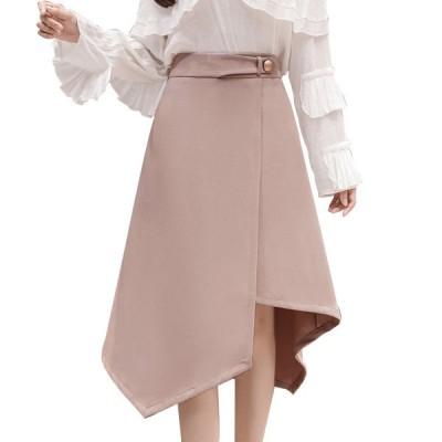 イレギュラースカート フレアスカート ロング  aラインスカート フリル 膝丈 レディース おしゃれ かわいい 韓国ファッション 秋冬